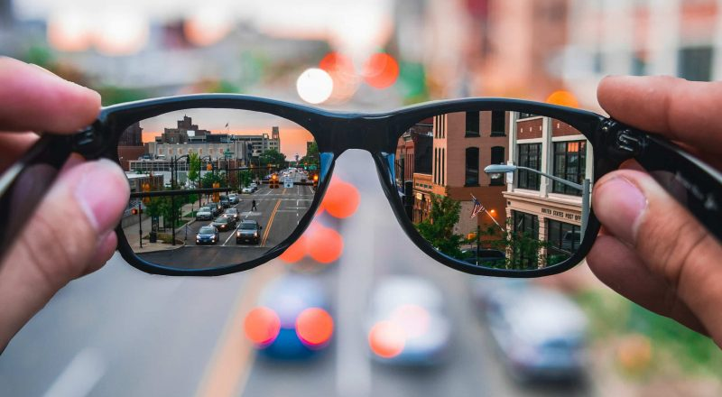 sunglasses highway reflection during day
