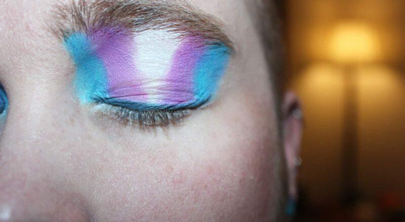person's blue eyeshadow